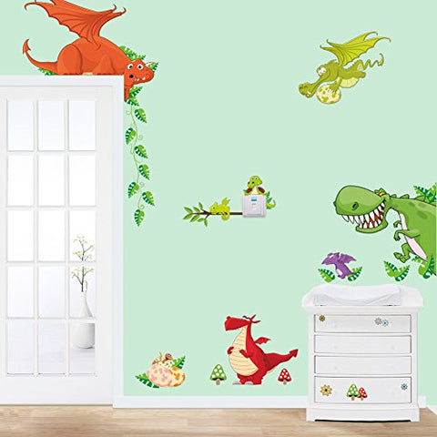 MLM Cute Cartoon Colorful Dinosaur Zoo Children's Room Decor Kindergarten Boys And Girls Bedroom Furnished Cartoon Sticker Removable Vinyl Wall Stickers
