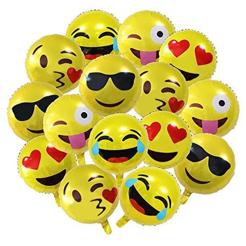 18 Party Emoji Mylar Balloon, NALAKUVARA Bright Yellow Clolor 18 inch Smiley Face Latex Helium Balloons for Party, Birthday or Holiday Decoration