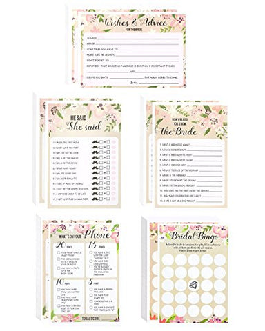Set of 5 Pink Vintage Floral Flower Themed Bridal Shower and Wedding Anniversary Game Card Packs Including Marriage Advice Cards and How Well do You Know the Bride? - 50 Sheets Each - 5 x 7 Inches