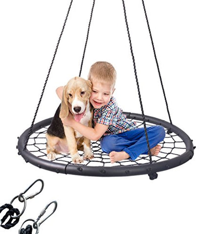LaTazas Extra Large 40 Diameter Kids Web Net Swing Height Adjustable, Easy Installation Tree Swing Set for Playground Indoor and Outdoor(Including 2 Carabiners Free)