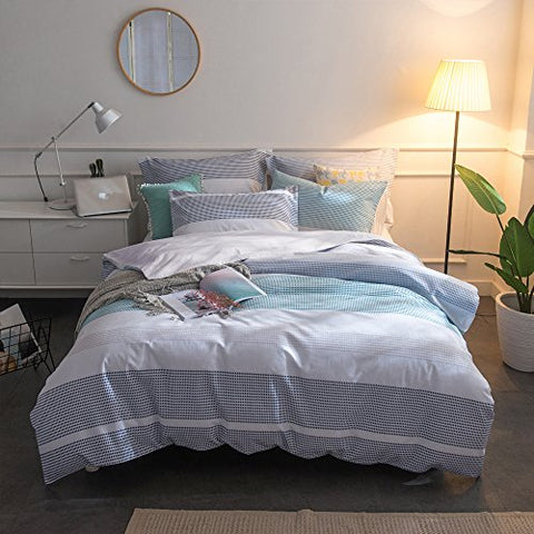 Merryfeel 100% cotton yarn dyed Duvet Cover Set - Full/Queen Blue