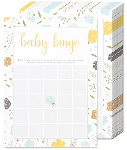 50 Game Sheets Baby Shower Bingo Party Games - for Boy or Girl Unisex Gender Neutral - for 50 Guest Activities Supplies - 5 x 7 Inches