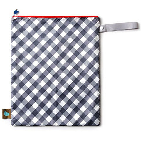 Waterproof Machine Washable Wet Bag: Great for Diapers, Swimsuits, Gym Clothes, Travel Organizer Etc. (Gray Plaid)