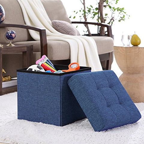 Ellington Home Foldable Tufted Linen Storage Ottoman Cube Foot Rest Stool/Seat - 15  x 15  (Navy)