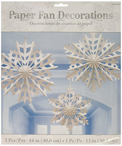 Amscan Winter Wonderland Christmas Snowflake Paper Fan Hanging Party Decoration (3 Piece), White, One Size