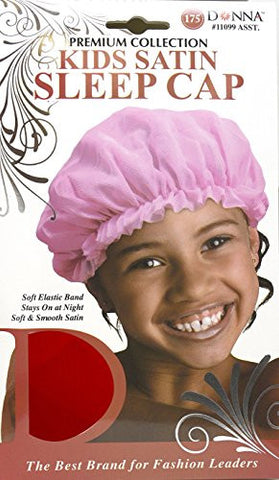 Donna Premium Collection Kids Satin Sleep Cap #11099 Red, Soft elastic band, stays on during the night, keeps hair in place, soft satin, smooth satin