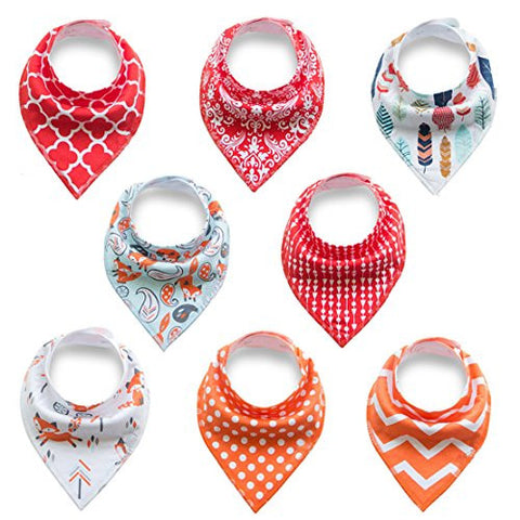 Baby Bandana Drool Bibs for drooling and teething,soft and most absorbent baby bibs keep clothes clean,100% organic cotton,unsex cute baby bibs gift set for boys and girls (BC082)
