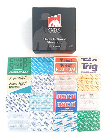 32 Double Edge Razor Blades Variety Sampler Pack + GBS 97% All Natural Ocean Driftwood Soap (Feather, Treet, Trig, Derby, Asco, Astra, Lord and More!)