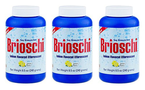 Brioschi Effervescent 8.5oz (3 Bottles) The Original Lemon Flavored Italian Effervescent - 3 Bottles