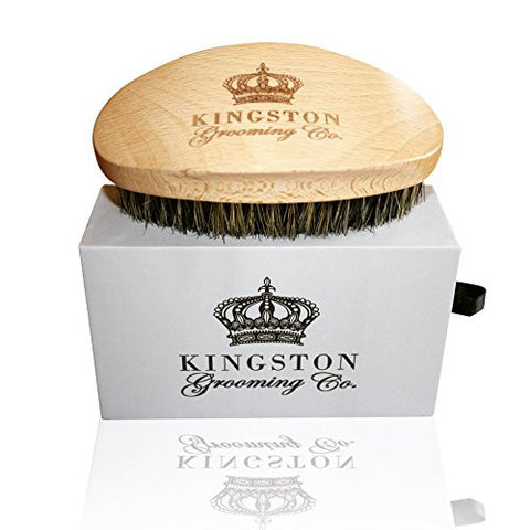 Kingston Grooming- Professional Quality, 100% Natural Wooden Dual Boar Hair Bristle Beard and Hair Brush for Men. Solid Beechwood and Engraved Contour Design with Travel Case.
