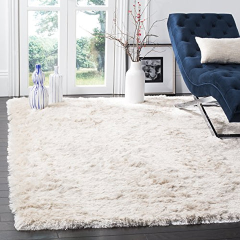 Safavieh Paris Shag Collection SG511-1212 Ivory Polyester Area Rug (3' x 5')
