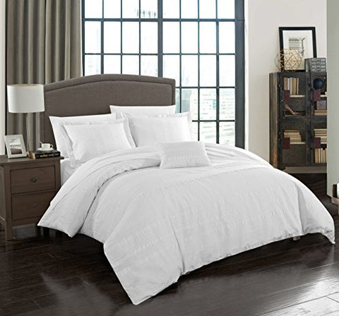 Chic Home 4 Piece Somerset 100% Cotton 200 Thread Count Organic Casual Seersucker textured fabric Queen Duvet Cover Set White