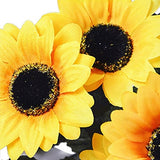 Artificial Sunflower,Govine Artificial Flowers fake flowers For Home Decoration Wedding Decor,7 Flowers Per Bunch, 4 Bunches Per Pack
