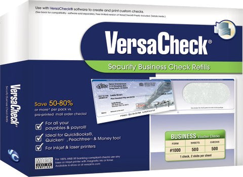 Versacheck Security Business Check Refills Form # 1000, Business Voucher, Green Classic, 500 Sheets