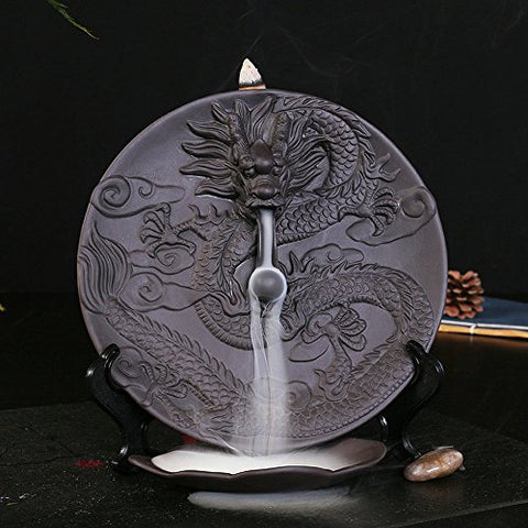 Ceramic Incense Holder Incense Burner Backflow Censer with 10pcs Sandalwood Incense (Dragon)