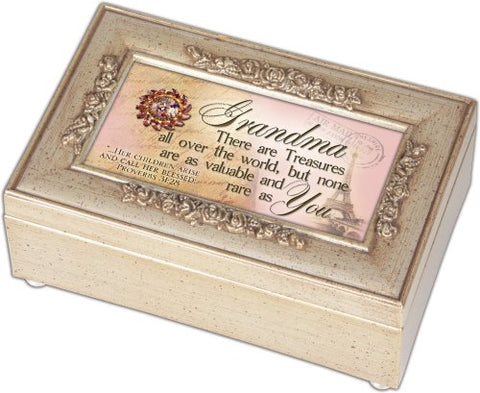 Cottage Garden Grandma Grandmother Champagne Silver Petite Rose Music Box / Jewelry Box Plays Amazing Grace