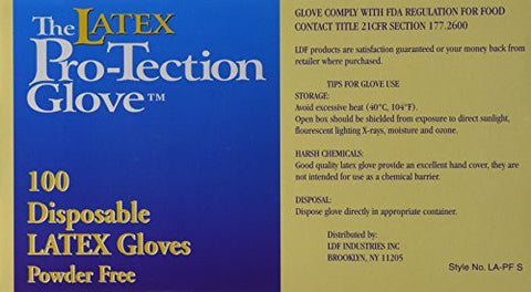 Disposable Latex Gloves, Powder Free, Size: Small, 100 Count