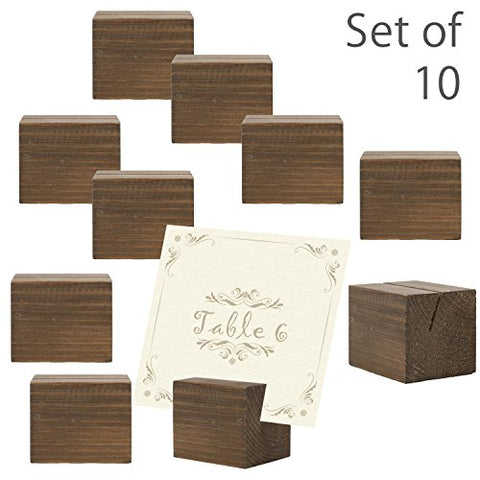 10 piece Rustic Natural Wood Rectangular Table Place Card Holders, Dark Brown