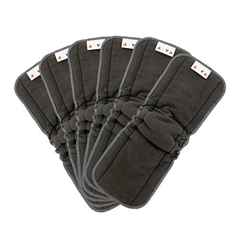 (Happy Christmas Gifts) ALVABABY 5-Layer Charcoal Bamboo Inserts Reusable Liners with Gussets to Prevent Leakages for Cloth Diapers 6PCS 6FLN