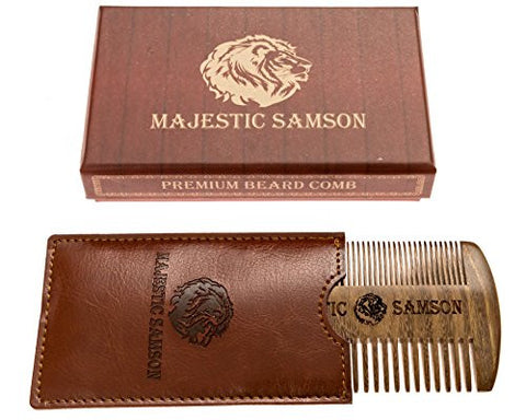 Majestic Samson Anti-Static Wooden Beard/Hair Comb for Men with Pocket Case, Red Sandalwood