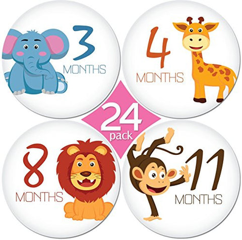 4 Premium Baby Monthly Stickers By KiddosArt. 1 Happy Animal Sticker Per Month of Your Baby's First Year Growth and Holidays. Month Sticker for Baby, Boy or Girl. Milestone Onesie Stickers