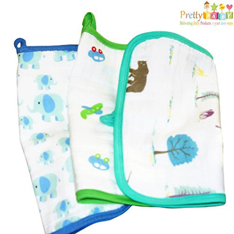 Baby Washcloths And Towel For Boys Infant & Adults. 12 x 12 Multi-Layer Muslin Cotton Facecloth Used For Wipes, Rags, Teether, Teething Bibs & Burp Bibs.