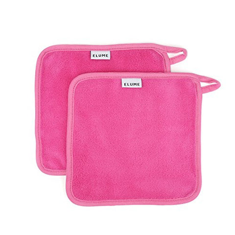 ELUME Makeup Remover Cloths with Loop to Hang Dry, Designed for Sensitive Skin to Gently Wipe Away Cosmetics, Facial Masks, Sunscreen, Dirt and Oil, Set of 2 Reusable Travel Size Pink Make Up Towels