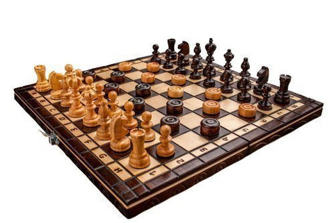 Prime Chess Hand Crafted Cherry Wooden Chess And Draughts Set 13,7 x 13,7