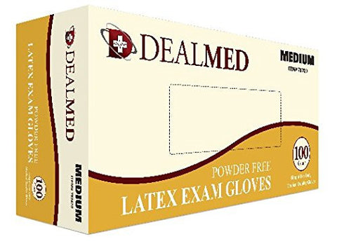 Disposable Latex Exam Powder Free Gloves, 100 Count, Size Medium