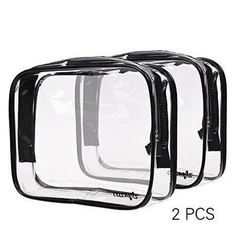 Cosmos Clear PVC Vinyl Zippered Luggage Toiletry Carry Pouch Travel Cosmetic Makeup Bag Clear Bag (Clear/Black)