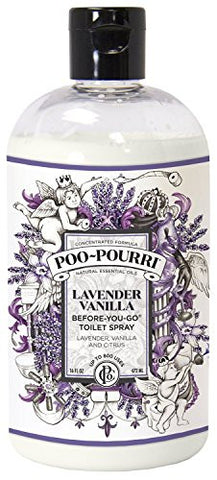 Poo-Pourri Before-You-Go Toilet Spray 16-Ounce Refill Bottle, Lavender Vanilla + Free 1oz Refillable Bottle
