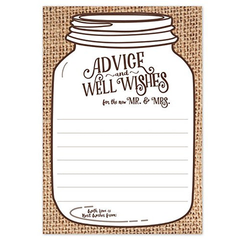 Mason Jar Wedding Advice Cards - Rustic Country Canning Jar on Burlap Print - Advice & Well Wishes for the new Mr & Mrs - Fill In the Blank Style - Bridal Shower Game or Reception Activity (50 Count)