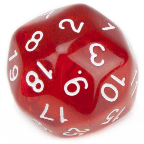 30 Sided Translucent Red with White Numbers Polyhedral Dice by Wiz Dice