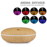 1byone Essential Oil Diffuser 7 colors - 350 ML Cool Mist Aroma Humidifier for Aromatherapy with changing Colored LED Lights, Portable, Auto Shut-off and Adjustable Mist mode, Wood Grain