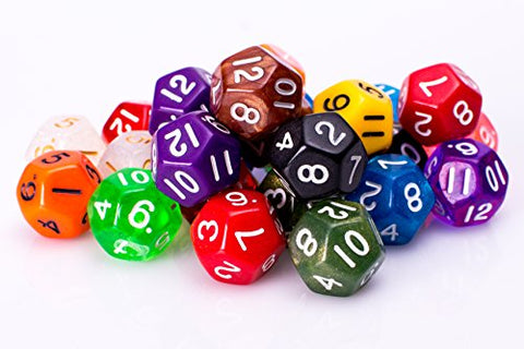 25 Count Assorted Sided Dice - Multi Colored Assortment of D12 Polyhedral Dice