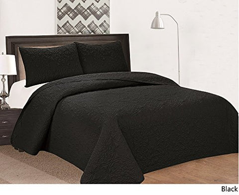 Royal Home Decor 3-pc Bedspread Set with Medallion Pattern (Queen, Black)