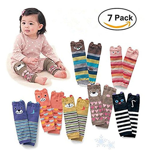 Cute Animal Theme Unisex Leg Sleeve Warmers Socks Leggings Baby Girls Boys Toddler Knee High Stockings for Crawling Baby Socks Leg Warmers - Knee Socks Protector Warmer