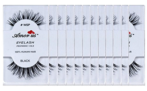 12 Pairs Amorus 100% Human Hair False Eyelashes #WSP