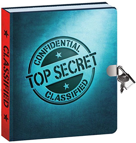 Peaceable Kingdom Top Secret Invisible Ink Pen 6.25 Lock and Key, Lined Page Diary for Kids