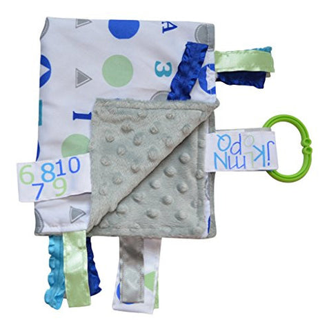 Lovey Security Baby Blanket Sensory Tag Toy Alphabet ABC Numbers 123 The Learning Lovey … (Blue)