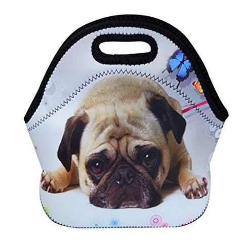 Monique Animal Print Neoprene Waterproof Lunch Bag Tote Large Capacity Insulated Picnic Handbag Purse for School Office Travel Dog