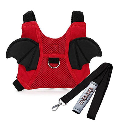 EPLAZA Toddler Walking Safety Bat Belt Harness with Leash Breathable (cotton red)