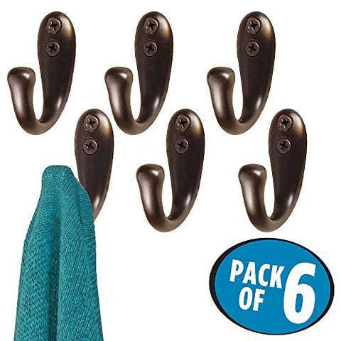 mDesign Wall Mount Entryway Single Storage Hook for Jackets, Coats, Hats, Scarves - Bronze