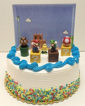 Super Mario Brothers Game Scene Birthay Cake Topper Featuring 2 Figures of Mario, Luigi, Mushroom, Goomba, Koopa Troopa and Decorative Themed Pieces
