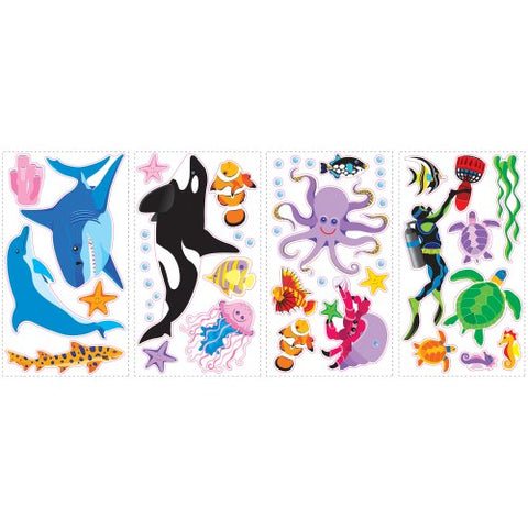RoomMates SPD0002SCS Awesome Ocean Peel and Stick Wall Decals, 46 Count,