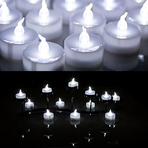 AGPtek 24 PCS LED Tealights Battery-Operated flameless Candles Lights For Wedding Birthday Party - White
