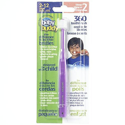 Baby Buddy 360 Toothbrush Step 2 Stage 6 for Ages 2-12 Years, Kids Love Them, Purple, 3 Count