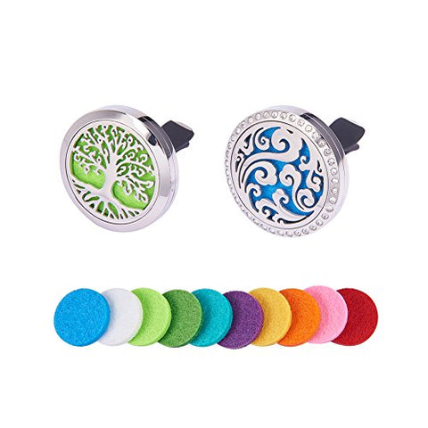 BENECREAT Tree of Life & Sky Clouds Car Air Freshener Aromatherapy Essential Oil Diffuser Stainless Steel Locket With Vent Clip 10 Washable Felt Pads