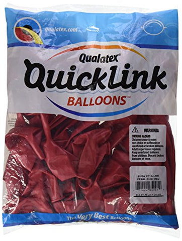 Pioneer Balloon 50 Count Pearl Quick Link Latex Balloons, 12 , Ruby Red