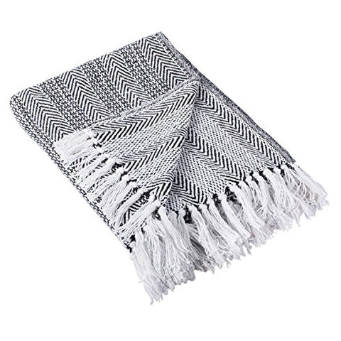 DII Rustic Farmhouse Cotton Stripe Blanket Throw with Fringe For Chair, Couch, Picnic, Camping, Beach, & Everyday Use , 50 x 60  - Herringbone Stripe Black